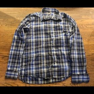 Express plaid fitted button up shirt